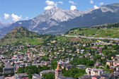 Sion city capital of the canton of valais — Stock Photo