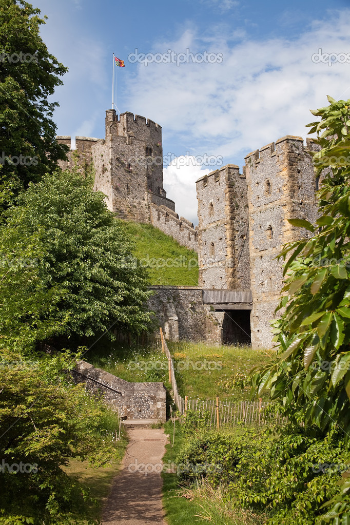 Restored medieval castle at arundel in west sussex in england, the ancestral seat of dukes of norfolk.  Stock Photo #5141377
