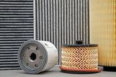 Five various car filters — Stock Photo