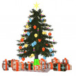 Christmastree with präsent 1 — Stock Photo #5187575
