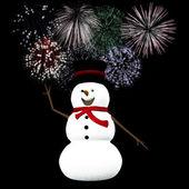 Snögubbe firar silvester — Stockfoto