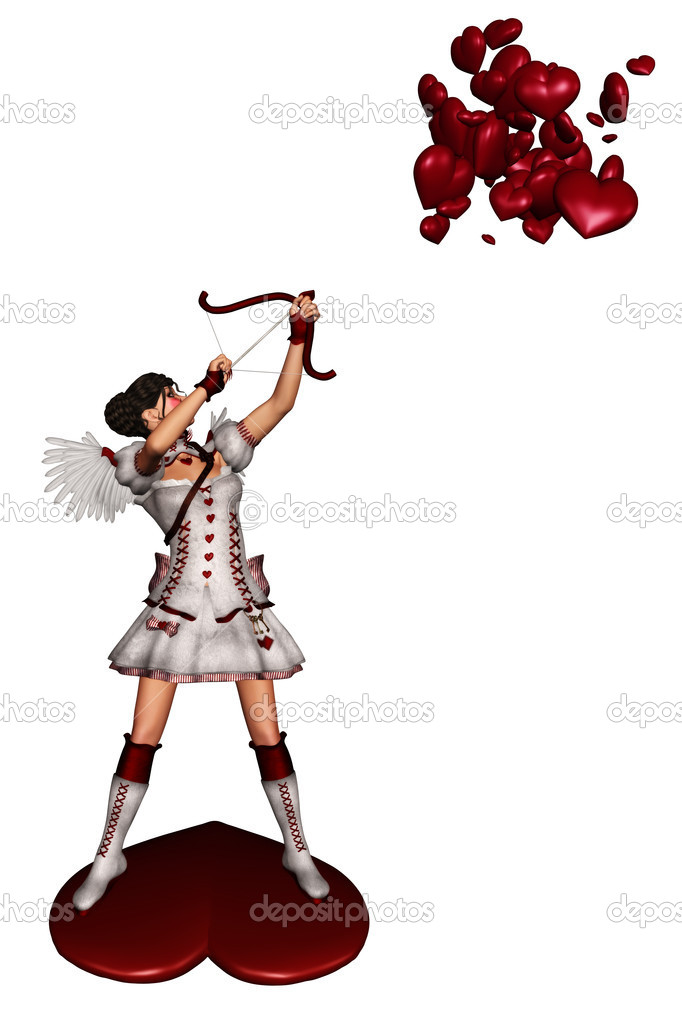 A cupid shoots at the heart - isolated on white — Stock Photo #5188784