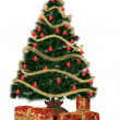 Christmastree with präsent — Stock Photo
