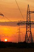 Power station on sundown sun, — Stock Photo