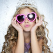 Fashion victim little princess girl portrait — Stock Photo