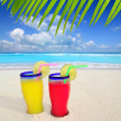Royalty-Free Stock Photo: Beach tropical cocktails palm tree leafl turquoise beach