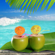 Royalty-Free Stock Photo: Fresh tender green coconuts straw beach cocktails