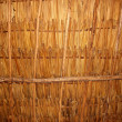 Palm tree leaves in sunroof palapa hut roof - Stock Photo