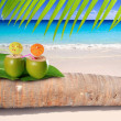 Coconut cocktail in turquoise Caribbean beach — Stock Photo #5124287