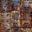 Aztec mayan wooden indian mask handcrafts — Stock Photo