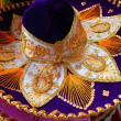 Charro mariachi Mexican hat blue purple and golden - Stock Photo