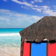 Hut palapa in beach turquoise caribbean blue sky — Stock Photo #5124641