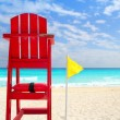 Baywatch red seat yellow wind flag tropical caribbean — Stock Photo #5124663