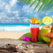 Coconut cocktail starfish tropical beach - Stockfoto