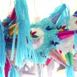 Pinatas star shape mexican traditional celebration — Stock Photo
