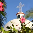 Playa del Carmen white Mexican church archs belfry — Stock Photo