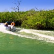 Boating in mangroves in Mayan Riviera Mexico — Stock Photo