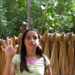 Stock Photo: Indigirl waving greeting in jungle south american