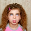 Funny girl face ugly expression cross-eyed squinting — Stock Photo