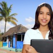 Brunette teen student indian latin holding laptop — Stock Photo