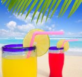 Beach tropical cocktails palm tree leafl turquoise beach — Stock Photo
