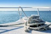 Boat white bow in tropical Caribbean sea — Stock Photo
