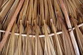 Palm tree leaves in sunroof palapa hut roofing — Stock Photo