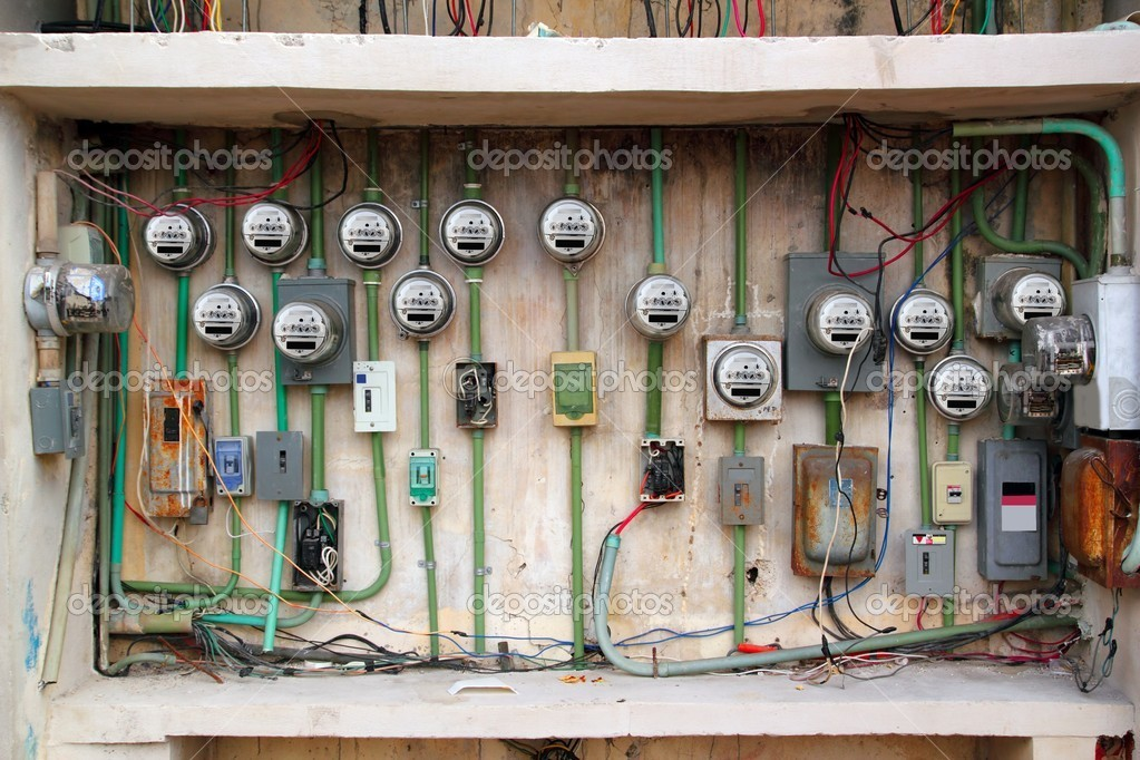 Electric Meter Messy Electrical Wiring Installation — Stock Photo