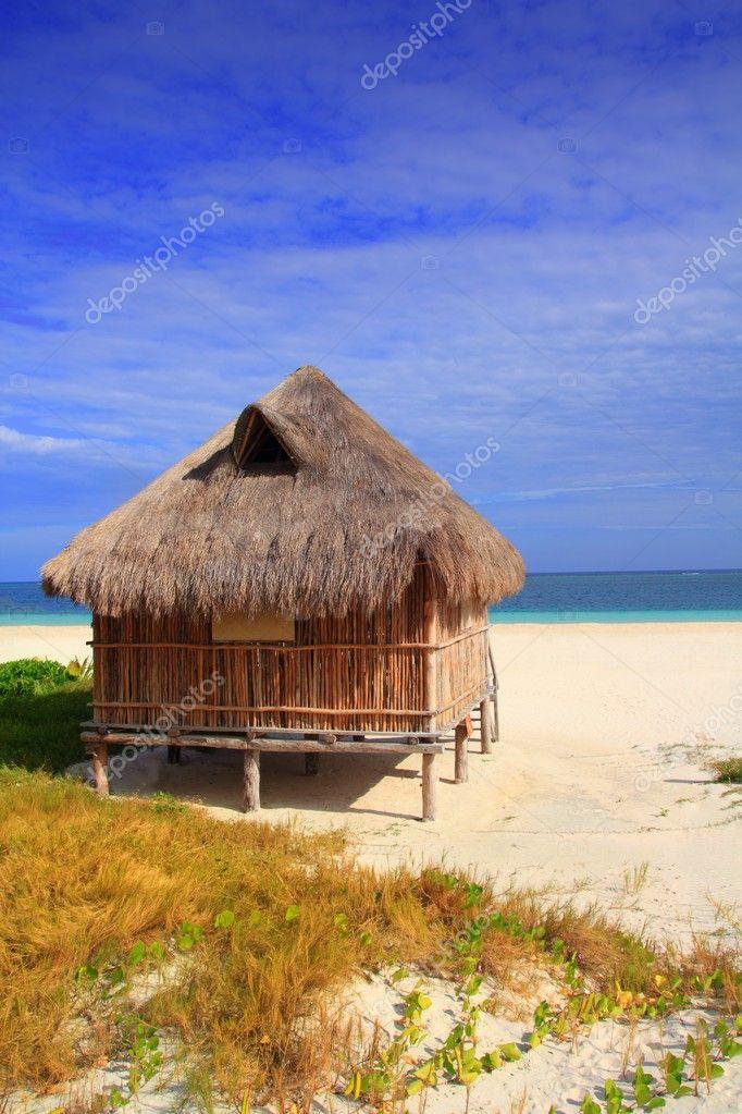 Cabin palapa hut caribbean sea beach mexico stock photo for Cabin by the sea