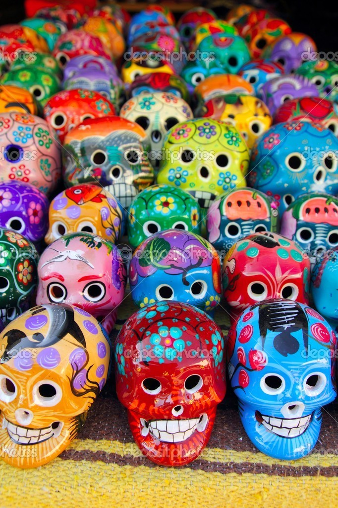 day of dead mexico skulls. Aztec skulls Mexican Day of