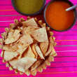 Nachos totopos with chili sauce Mexican food - Stock Photo