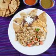 Chicken tacos Mexican style chili sauce and nachos — Stock Photo