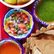 Mexican sauces pico de gallo habanero chili sauce — Stock Photo