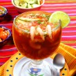 Cocktail of shrimps seafood mexican style chili sauce - Stock Photo