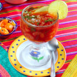Cocktail of shrimps mexican chili sauces lemon — Stock Photo #5282723