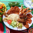 Assorted grilled seafood in Mexico tequila chili - Stock Photo