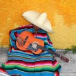 Mexican typical lazy man sombrero hat guitar serape - Zdjęcie stockowe