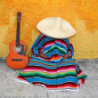 Постер, плакат: Mexican typical lazy man sombrero hat guitar serape