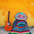 Stock Photo: Mexictypical lazy msombrero hat guitar serape