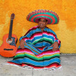 Happy mexican man typical sombrero serape guitar — Stock Photo