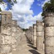 Royalty-Free Stock Photo: Columns Mayan Chichen Itza Mexico ruins in rows