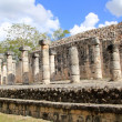 Columns Mayan Chichen Itza Mexico ruins in rows - Stock Photo