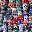 Mexican skulls colorful ceramic Day of the Dead - Stock Photo