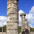 Columns Mayan Chichen Itza Mexico ruins in rows — Stock Photo #5282879