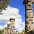 Columns Mayan Chichen Itza Mexico ruins in rows — Stock Photo #5282881