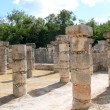 Columns Mayan Chichen Itza Mexico ruins in rows — Stock Photo #5282884