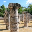 Columns Mayan Chichen Itza Mexico ruins in rows — Stock Photo #5282885