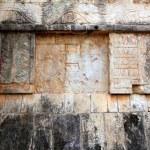 Chichen Itza hieroglyphics Mayan ruins Mexico — Stock Photo