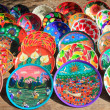 Clay ceramic plates from Mexico colorful — Stock Photo