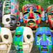 Colorful Mayan masks indian culture in Jungle — Stock Photo #5282979